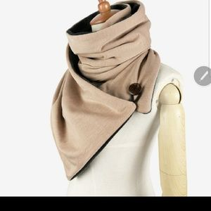 Wrap Button Stylish Fleece Lined Scarf Taupe
